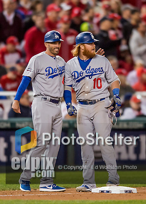 13 October 2016: Los Angeles Dodgers third baseman Justin Turner stands on third base after hitting a 2-RBI triple in the 7th inning of the NLDS Game 5 against the Washington Nationals at Nationals Park in Washington, DC. The Dodgers edged out the Nationals 4-3, to take Game 5, and the Series, 3 games to 2, moving on to the National League Championship against the Chicago Cubs. Mandatory Credit: Ed Wolfstein Photo *** RAW (NEF) Image File Available ***