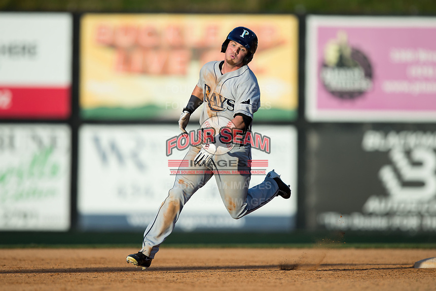 Carl Chester (9) of the Princeton Rays hustles towards third base against the Danville Braves at American Legion Post 325 Field on June 25, 2017 in Danville, Virginia.  The Braves walked-off the Rays 7-6 in 11 innings.  (Brian Westerholt/Four Seam Images)