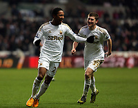 Saturday 19 January 2013<br /> Pictured L-R: Jonathan de Guzman of Swansea celebrating his goal with co-scorer Ben Davies.<br /> Re: Barclay's Premier League, Swansea City FC v Stoke City at the Liberty Stadium, south Wales.