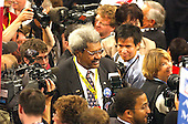 New York, NY - August  30, 2004 --  Boxing promoter Don King is surrounded by photographers as he makes his way off the floor after listening to New York City Mayor Michael Bloomberg's speech at the 2004 Republican National Convention in New York on Monday, August 30, 2004..Credit: Ron Sachs / CNP  .(RESTRICTION: No New York Metro or other Newspapers within a 75 mile radius of New York City)