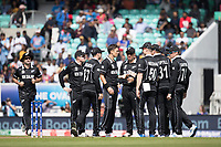 The New Zealand players celebrate the wicket of Rohit Sharma during India vs New Zealand, ICC World Cup Warm-Up Match Cricket at the Kia Oval on 25th May 2019