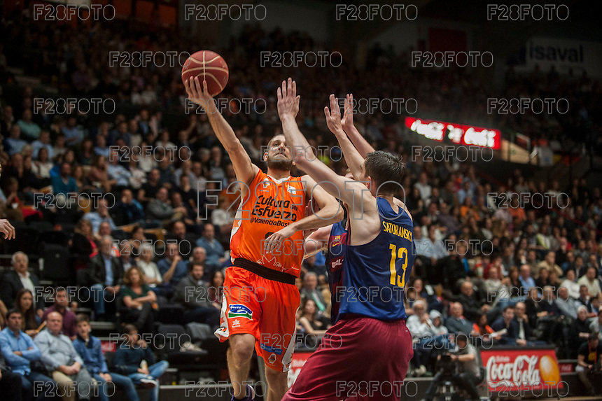 VALENCIA, SPAIN - MARCH 8: Antoine Diop, Satoransky during ENDESA LEAGUE match between Valencia Basket Club and Barcelona at Fonteta Stadium on March, 2016 in Valencia, Spain