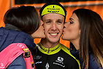 Race leader Simon Yates (GBR) Mitchelton-Scott wins Stage 9 of the 2018 Giro d'Italia, running 225km from Pesco Sannita to Gran Sasso d'Italia (Campo Imperatore), this year's Montagna Pantani, Italy. 13th May 2018.<br /> Picture: LaPresse/Marco Alpozzi | Cyclefile<br /> <br /> <br /> All photos usage must carry mandatory copyright credit (&copy; Cyclefile | LaPresse/Marco Alpozzi)