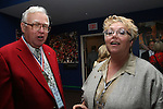 27 August 2006: Soccer America Magazine publishers Hall of Famer Clive Berling (l) and his daughter Lynn Berling-Manuel (r) during the opening of a new exhibit commemorating the first ten years of Major League Soccer. The President's Reception and Dinner were held at the National Soccer Hall of Fame in Oneonta, New York the evening before the 2006 Induction Ceremony.