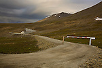 Entrance to Global Seed Vault, Spitsbergen, Svalbard, Norway. The seed bank was built 120 meters inside a sandstone mountain and stores millions of crop seeds.