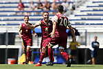 28 August 2016: Elon's Nick Adamczyk (20) celebrates his goal with Amir Berkane (ENG) (8). The Elon University Phoenix played the University of San Diego Toreros at Koskinen Stadium in Durham, North Carolina in a 2016 NCAA Division I Men's Soccer match. USD won the game 2-1.