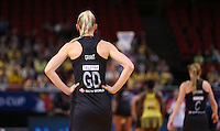 11.08.2015 Silver Ferns Katrina Grant in action during the Silver Ferns v Jamaica netball match at the 2015 Netball World Cup at All Phones Arena in Sydney Australia. Mandatory Photo Credit ©Michael Bradley.