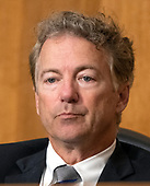 """United States Senator Rand Paul (Republican of Kentucky) listens as US Secretary of State Mike Pompeo testifies before the US Senate Committee on Foreign Relations on """"An update on American Diplomacy to Advance our National Security Strategy"""" on Capitol Hill in Washington, DC on Wednesday, July 25, 2018.  Pompeo took questions on the Helsinki Summit with President Putin of Russia and progress on the denuclearization of North Korea.<br /> Credit: Ron Sachs / CNP"""