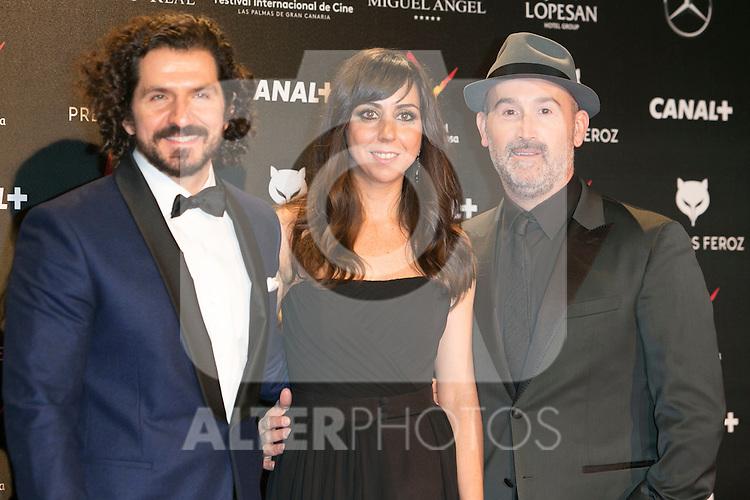 Jorge Torregrossa, Carmen Ruiz and Javier Camara attends the Feroz Cinema Awards 2015 at Las Ventas, Madrid,  Spain. January 25, 2015.(ALTERPHOTOS/)Carlos Dafonte)