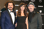 Jorge Torregrossa, Carmen Ruiz and Javier Camara attends the Feroz Cinema Awards 2015 at Las Ventas, Madrid,  Spain. January 25, 2015.(ALTERPHOTOS/)Carlos Dafonte)