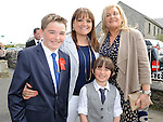 Matt Deeganfrom Callystown NS who received confirmation at St Michael's church Clogherhead pictured with mam Louise, brother Liam and aunt Finola Keighron. Photo: Colin Bell/pressphotos.ie