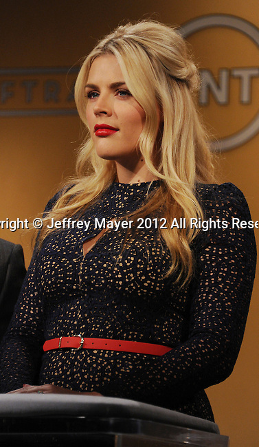 WEST HOLLYWOOD, CA - DECEMBER 12: Busy Philipps  speaks onstage at the 19th Annual Screen Actors Guild Awards Nominations Announcement at the Pacific Design Center on December 12, 2012 in West Hollywood, California.