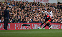Tottenham Hotspur manager Mauricio Pochettino watches his player Dele Alli battle with Jack Wilshere of Bournemouth during the Premier League match between Tottenham Hotspur and Bournemouth at White Hart Lane, London, England on 15 April 2017. Photo by Mark  Hawkins / PRiME Media Images.