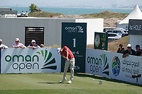 Maximilian Kieffer (GER) on the 1st tee during the final round of the Oman Open, Al Mouj Golf, Muscat, Sultanate of Oman. 03/03/2019<br /> Picture: Golffile | Phil Inglis<br /> <br /> <br /> All photo usage must carry mandatory copyright credit (&copy; Golffile | Phil Inglis)