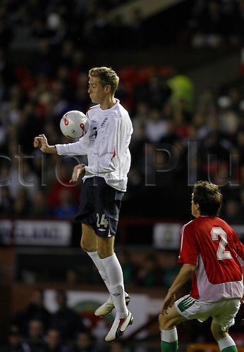 30 May 2006: England striker Peter Crouch controls the ball with his chest during the International Friendly match between England and Hungary played at Old Trafford. England won the game 3-1 Photo: Neil Tingle/Actionplus...060530 football soccer player