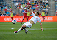 Toronto defender Torsten Frings (22) attempts to control the ball.  The Chicago Fire defeated Toronto FC 2-0 at Toyota Park in Bridgeview, IL on August 21, 2011.