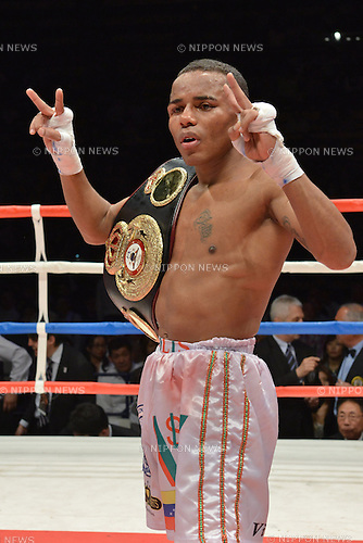 Liborio Solis (VEN),<br /> MAY 6, 2013 - Boxing :<br /> Liborio Solis of Venezuela celebrates with his champion belt after winning the WBA super flyweight title bout at Ota-City General Gymnasium in Tokyo, Japan. (Photo by Hiroaki Yamaguchi/AFLO)