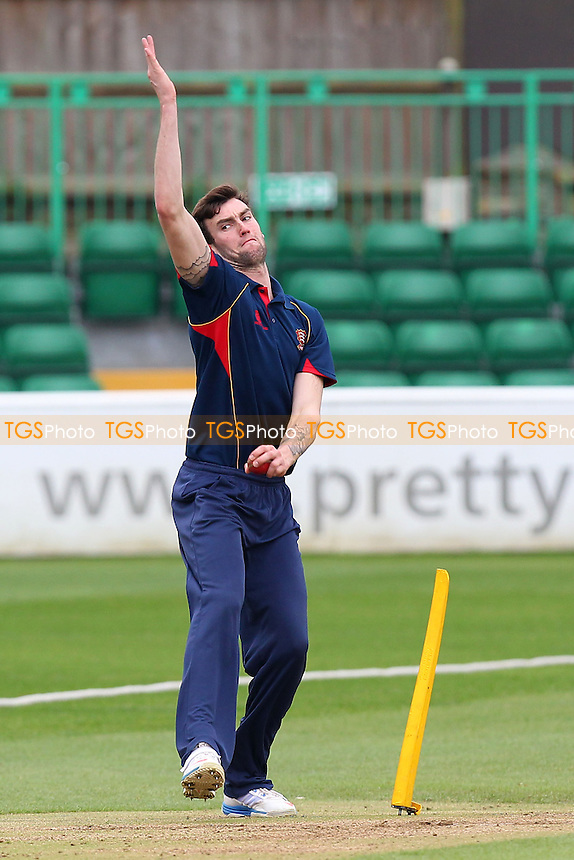 Reece Topley of Essex warms up with some bowling practice during the lunch interval - Essex CCC vs Kent CCC - Pre-Season Friendly Cricket Match at the Essex County Ground, Chelmsford - 04/04/14 - MANDATORY CREDIT: Gavin Ellis/TGSPHOTO - Self billing applies where appropriate - 0845 094 6026 - contact@tgsphoto.co.uk - NO UNPAID USE