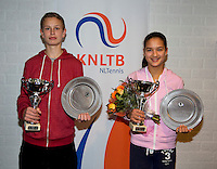 November 30, 2014, Almere, Tennis, Winter Youth Circuit, WJC,  Prizegiving, Boys and girls 16 years, Masters and overall winner, Ronetto van Tilburg and Merel Hoedt.<br /> Photo: Henk Koster