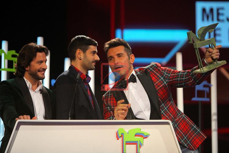 63 Premios Ondas.<br /> Gala de Entrega de los premios.<br /> Jesus Vazquez, Manuel Carrasco &amp; Melendi.