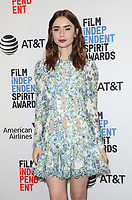 WEST HOLLYWOOD, CA - NOVEMBER 21: Lily Collins at the Film Independent Spirit Awards Press Conference at The Jeremy Hotel in West Hollywood, California on November 21, 2017. Credit: Faye Sadou/MediaPunch