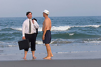 Business meeting, on the beach, Stone Harbor, New Jersey