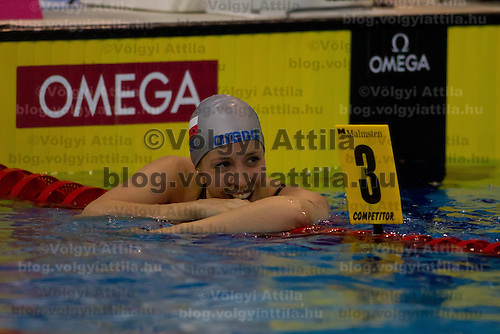 Petra Chocova of Czech Republic celebrates her victory in the Women's 50m Breaststroke final of the 31th European Swimming Championships in Debrecen, Hungary on May 27, 2012. ATTILA VOLGYI