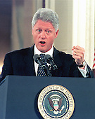 "United States President Bill Clinton makes a point during his press conference in the East Room of the White House in Washington, DC on 14 October, 1999.  In his prepared remarks, the President slammed the US Senate Republican leadership for forcing a vote against the Comprehensive Nuclear-Test-Ban Treaty and for fostering ""a new isolationism.""  <br /> Credit: Ron Sachs / CNP"