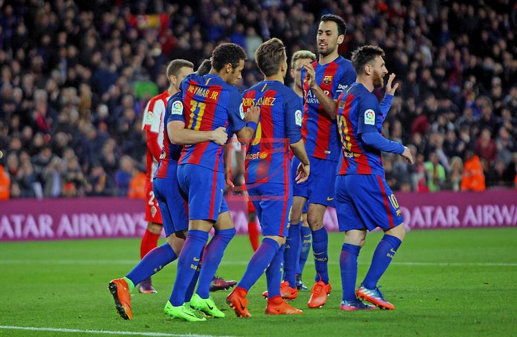 League Santander 2016/2017. Game: 25.<br /> FC Barcelona vs Real Sporting SAD: 6-1.