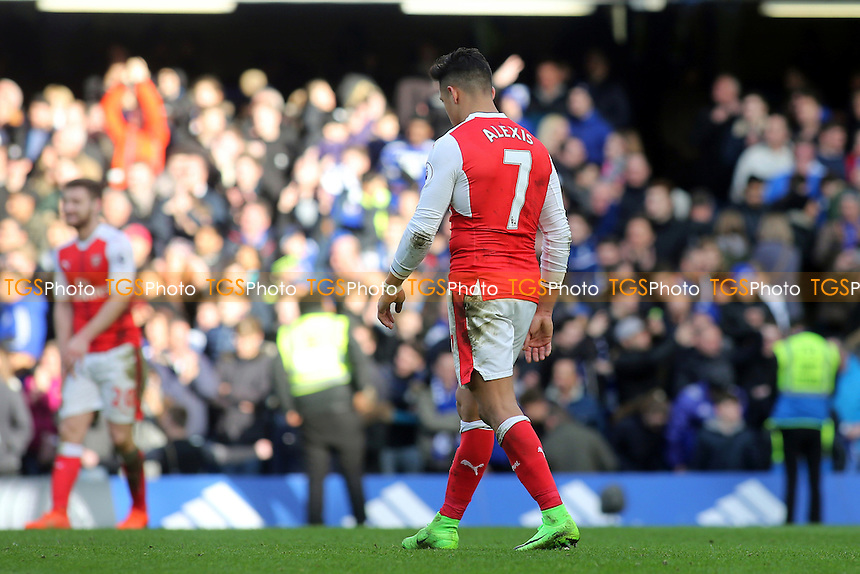 Alexis Sanchez of Arsenal heads to the dressing room at the final whistle during Chelsea vs Arsenal, Premier League Football at Stamford Bridge on 4th February 2017