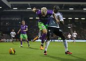 31st October 2017, Craven Cottage, London, England; EFL Championship football, Fulham versus Bristol City; Aboubakar Kamara of Fulham tackling Hordur Magnusson of Bristol City