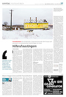 German daily die tageszeitung on anti-Roma crimes and the future of Hungary, April 27, 2013.<br /> Photographer: Martin Fejer