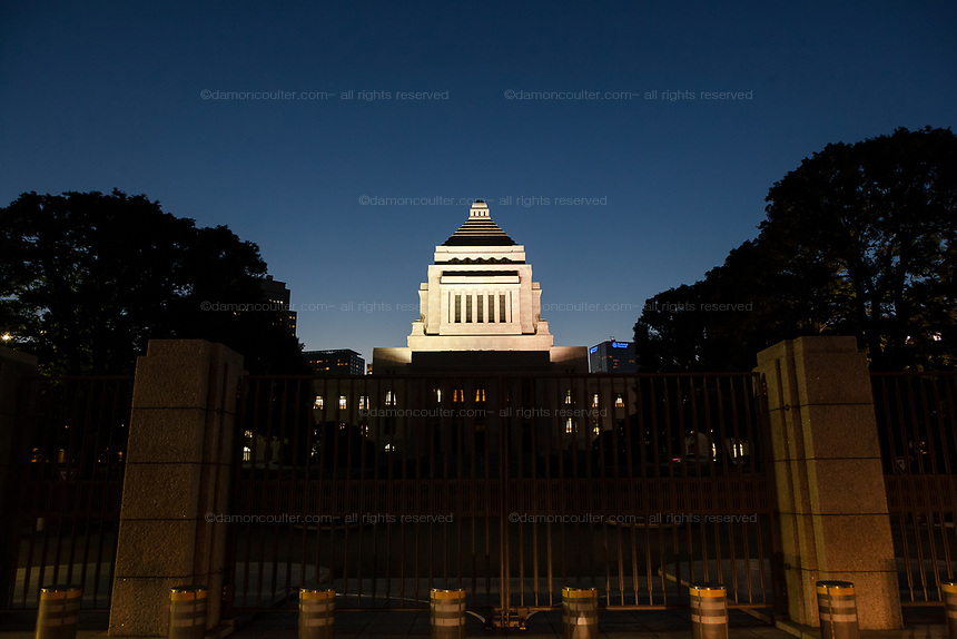 The national Diet Building illuminated at night in Nagatacho in Tokyo, Japan. Friday January 31st 2014