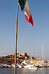 Italy, Elba, Portoferraio, Harbor, Italian flag, Mediterranean, yachts, Province of Livorno; Tyrrhenian Sea; Tuscan archipelago, West coast of Italy, Tuscan coast, Europe,..