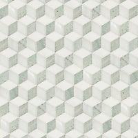 Euclid, a hand-cut stone mosaic, shown in polished Thassos, Paperwhite and Ming Green, is part of the Illusions™ Collection by New Ravenna.