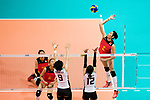 Wing spiker Ting Zhu of China (R) during the FIVB Volleyball World Grand Prix match between China vs Japan on July 21, 2017 in Hong Kong, China. Photo by Marcio Rodrigo Machado / Power Sport Images