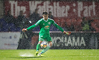Goalkeeper Kieran O'Hara of Manchester United in the heavy rain during the U23 Premier League 2 match between Chelsea and Manchester United at the EBB Stadium, Aldershot, England on 18 September 2017. Photo by Andy Rowland.