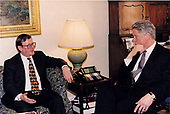 United States President Bill Clinton meets with Ulster Unionist Party Leader David Trimble at the White House in Washington, DC on October 7, 1993<br /> Mandatory Credit:  Robert McNeely / White House via CNP