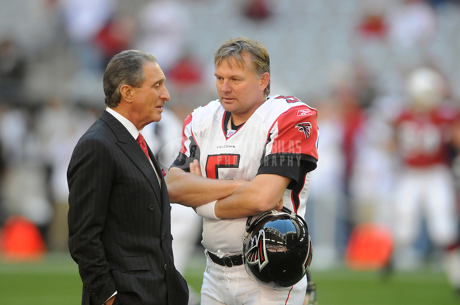 Dec. 23, 2007; Glendale, AZ, USA; Atlanta Falcons owner Arthur Blank talks with kicker Morten Andersen (5) prior to the game against the Arizona Cardinals at University of Phoenix Stadium. Mandatory Credit: Mark J. Rebilas-US PRESSWIRE