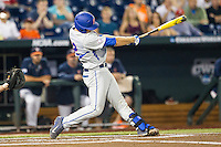 Florida Gators catcher JJ Schwarz (22) swings the bat during the NCAA College baseball World Series against the Virginia Cavaliers on June 15, 2015 at TD Ameritrade Park in Omaha, Nebraska. Virginia defeated Florida 1-0. (Andrew Woolley/Four Seam Images)