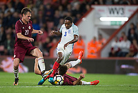 Kyle Walker-Peters (Tottenham Hotspur) of England U21 in action during the UEFA EURO U-21 First qualifying round International match between England 21 and Latvia U21 at the Goldsands Stadium, Bournemouth, England on 5 September 2017. Photo by Andy Rowland.