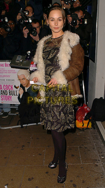"TARA FITZGERALD.""A Cock And Bull Story"" Premiere at Cineworld Cinemas, Haymarket, London, UK.January 16th, 2006.Ref: CAN.full length black gold dress brown coat fur lined.www.capitalpictures.com.sales@capitalpictures.com.© Capital Pictures."