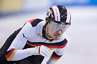 1st February 2019, Dresden, Saxony, Germany; World Short Track Speed Skating; 1000 meters men in the EnergieVerbund Arena. Florian Becker from Germany runs in a curve.