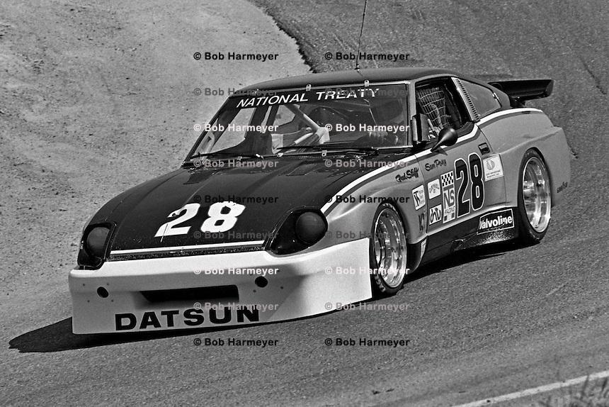 Sam Posey drives a Datsun 280ZX Turbo during a Camel GT IMSA race at Laguna Seca near Monterey, California, on May 3, 1981. (Photo by Bob Harmeyer)
