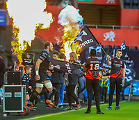 Ospreys' Captain Alun Wyn Jones leads his side out at the Liberty Stadium.<br /> <br /> Photographer Dan Minto/CameraSport<br /> <br /> Guinness Pro14 Round 13 - Ospreys v Cardiff Blues - Saturday 6th January 2018 - Liberty Stadium - Swansea<br /> <br /> World Copyright &copy; 2018 CameraSport. All rights reserved. 43 Linden Ave. Countesthorpe. Leicester. England. LE8 5PG - Tel: +44 (0) 116 277 4147 - admin@camerasport.com - www.camerasport.com
