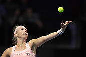 February 3rd 2019. St Petersburg, Russia; Kiki Bertens of Netherlands serves during the St. Petersburg Ladies Trophy tennis tournament final match versus Donna Vekic of Croatia on February 03, 2019, at Sibur Arena