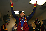 22 November 2009: Salt Lake's Javier Morales (ARG) celebrates in the locker room after the game. Real Salt Lake defeated the Los Angeles Galaxy 5-4 on penalty kicks after the teams played to a 1-1 overtime tie at Qwest Field in Seattle, Washington in MLS Cup 2009, Major League Soccer's championship game.