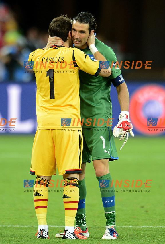 """Iker Casillas Spain, Gianluigi Buffon Italia.Kiev 01/07/2012  """"Stadio Olimpico"""".Football calcio Europeo 2012 Spagna Vs Italia.Football Calcio Euro 2012.Foto Insidefoto Alessandro Sabattini..."""