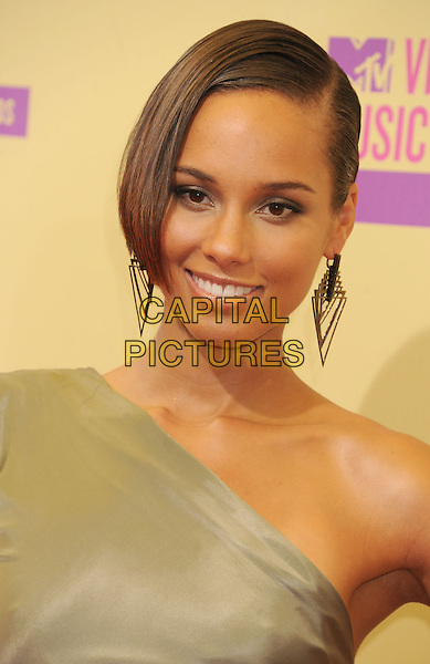 Alicia Keys.arriving at the 2012 MTV Video Music Awards at Staples Center in Los Angeles, California, USA, .September 6th, 2012..arrivals vmas vma portrait headshot one shoulder gold earrings .CAP/ROT/TM.©TM/Roth Stock/Capital Pictures