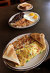 The South Main Diner in Caseyville features a wide selection of entrees for breakfast, lunch and supper on its menu. Front to back: Western omelet, with hash browns and toast; and steak & eggs, with hash browns and toast.